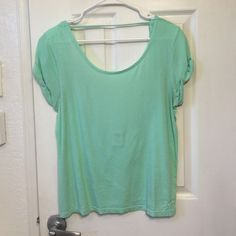 PINK Victoria's Secret open back tee Adorable open back t-shirt by PINK. Great mint green color for spring and summer. Wear a cute bandeau or bralette underneath. Or even wear over your swim suit. Size xs/s PINK Victoria's Secret Tops Tees - Short Sleeve