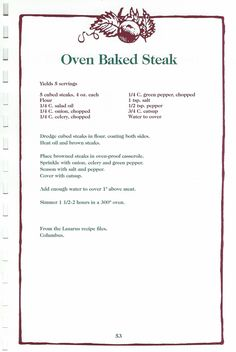 Lazarus Oven Baked Steak   theprimitivemoose   Flickr Retro Recipes, Old Recipes, Vintage Recipes, Cookbook Recipes, Steak Recipes, Cooking Recipes, Recipies, Beef Dishes, Food Dishes