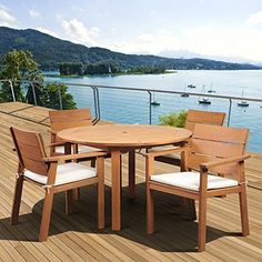 Amazonia Deerfield Eucalyptus Patio Dining Set  Seats 4 * Want additional info? Click on the image.