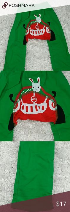 Green Driving Bunny play pants. Kids Adorable and comfortable green play pants with a cute little bunny driving at the back of the pants.  Refer to images.  This item is brand new and never used Bottoms Sweatpants & Joggers