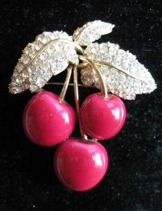 Ciner Pink Cherries Pin