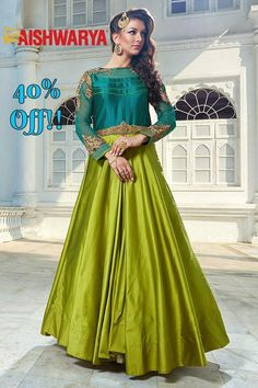 If you still haven't visited our Annual #sale then the time is now!  Buy Suit online - http://www.aishwaryadesignstudio.com/ravishing-turquoise-and-green-long-suit
