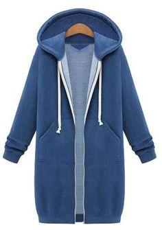 Hooded Long Sleeves Mid-length Zipper String Coat