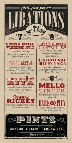 Design Thinking. Use pub menu style for wedding menu or bar list. #weddingmenu: