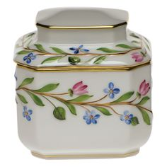 Herend China Tea Caddy *** Check this awesome product by going to the link at the image. (This is an affiliate link) Tea Caddy, Porcelain Ceramics, China Porcelain, Painted Porcelain, Hand Painted, Herend China, Ceramic Shop, Tea Tins, Teapots And Cups
