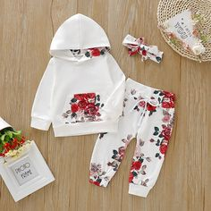 Baby Girl Beautiful Floral Hoodie and Pants with Headband Set - PatPat., Baby Girl Beautiful Floral Hoodie and Pants with Headband Set - PatPat Baby Clothes Patterns, Cute Baby Clothes, Baby Clothes For Girls, Cute Baby Girl, Baby Girls, Baby Boy, Baby Girl Fashion, Kids Fashion, Birthday Outfit