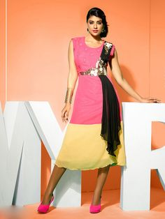 Georgette Pink & Yellow HOVKAIRM16 Patch Work Designer Kurti - IRM16 In Stock: Rs 1,645