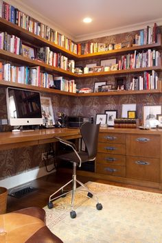 Tommy & Todd's Bohemian Chic Collection - purple wallpaper office with corner desk and shelves