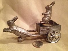 Vintage Cast Iron Rabbit Drawn Cart Toy by TrashAngelTreasures, $400.00