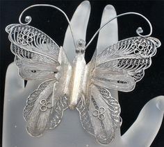 Antique Butterfly Sterling Silver Brooch by TheJewelryLadysStore, $62.00