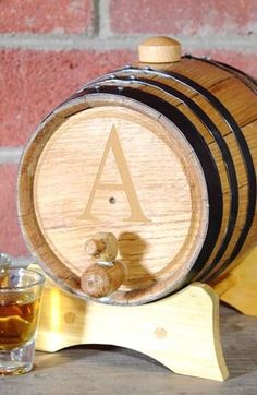 monogrammed barrel. loving this for a winery wedding.