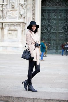 Coat: Sentaler ℅ | Leggings: ASOS | Turtleneck: J.Crew (on sale!!!) | Hat: Rag and Bone | Bag: Celine (similar style here and here) | Boots: Jeffrey Campbell – sold out (similar style here and here) | Gloves: Nordstrom | Lips: Boldly Bare and Cream Cup by MAC