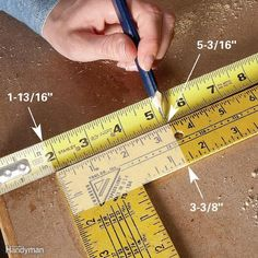 Measuring Tips and Techniques for DIYers Add Fractions Fast -- Adding in. (or any other fractions) doesn't have to hurt. Just line up two rulers or tape measures side by side and read the answer instantly, with complete accuracy. Woodworking Furniture, Woodworking Crafts, Woodworking Projects, Popular Woodworking, Woodworking Jigsaw, Woodworking Logo, Woodworking Articles, Intarsia Woodworking, Woodworking Machinery
