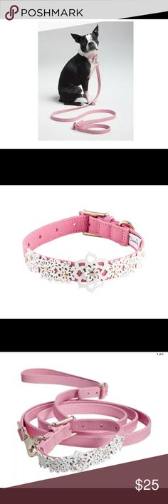 "Oscar de la Renta Pink dog collar and leash NEW Oscar De La Renta Genuine Leather Floral Lace Decorative Collar and Leash Set Color: Pink Size: MEDIUM Dog - 12""-16"" x 3/4"" (Collar) Oscar de la Renta Accessories"