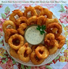 Beer-Batter Cucumber Rings with Honey-Key Lime Ranch Dipping Sauce from WIldflour's Cottage Kitchen