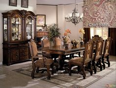 Bellefonte Baroque Brown Cherry Sleigh Bedroom Set with Intricate Accents CM7277