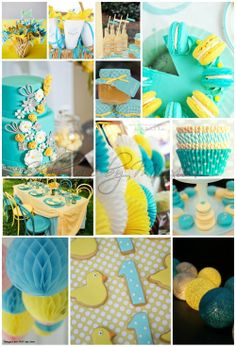 Turquoise Yellow Party Ideas Cupcakes Cookies Tablesettings Baby Shower