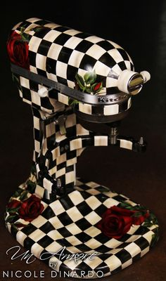 Distressed Checkered Mixer with Lush Red Roses