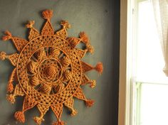 Vintage Sun Mandala Macrame Wall Art Hanging 70s Hand craft. $85.00, via Etsy.