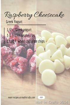 Transform Your Yogurt Into Raspberry Cheesecake With These Yummy Toppings Yummy Snacks, Healthy Desserts, Healthy Recipes, Healthy Breakfasts, Keto Recipes, Vegetarian Recipes, Healthy Yogurt, Healthy Food, Eating Healthy