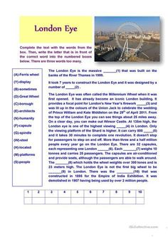 London Eye (Reading Comprehension) - English ESL Worksheets for distance learning and physical classrooms Reading Comprehension Activities, Vocabulary Activities, Reading Passages, Reading Worksheets, Comprehension Strategies, Printable Worksheets, London Eye, English Teaching Materials, Teaching English
