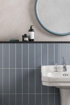Norse Blue Gloss Ceramic Tiles & Mandarin Stone The post Norse Blue Gloss Ceramic appeared first on Trendy. Contemporary Bathrooms, Modern Bathroom, Master Bathroom, Stone Bathroom, Blue Bathroom Tiles, Wall Tiles, Small Bathroom, Bathroom Styling, Bathroom Interior Design