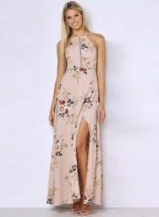 Elegant Halter Neck Floral Print Maxi Dress