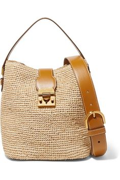 Beige raffia, tan leather (Calf) Push clasp fastening at front Comes with dust bag Weighs approximately Made in Italy Leather Mules, Tan Leather, Diamond And Silk, Leopard Print Bikini, Dinosaur Design, Soft Cup Bra, Mark Cross, Triangle Bra, Suede Sandals