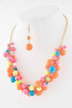 Summer Confetti Necklace in Orange