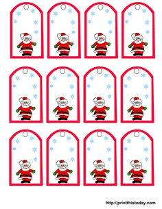Santa Claus and Snowflakes, free printable Christmas gift tags