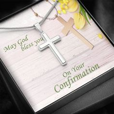Confirmation Cross Necklace - Christian Gift Necklace for Confirmation – ShineOn Infinity Cross, Graduation Necklace, God Bless You, Christian Gifts, Confirmation, Thoughtful Gifts, Blessed, White Gold, Pendant