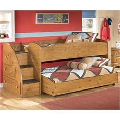 Caldwell Furniture - Shelbyville, TN Stages Twin Loft Bed w/ Caster Bed & Storage Stairs Bunk Bed Sets, Cool Bunk Beds, Bunk Beds With Stairs, Kids Bunk Beds, Unique Bedroom Furniture, Kids Furniture, Stylish Bedroom, Country Style Furniture, Low Loft Beds