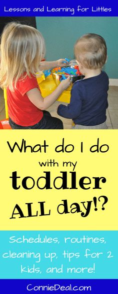 Toddler routines and toddler schedules are necessary, but can be difficult to figure out. What should you do with your kids all day? How? When? Learn two basic types of schedules for toddlers and preschoolers, what to include in your 2-3 year old's day, and tips for doing activities with 2 children.