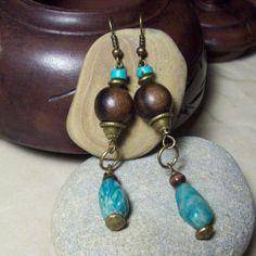 riverpebble stonewear ~ handmade jewelry - AMAZON- Earrings with Tiger Ebony Beads and Russian Amazonite