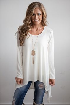 Shop our Ultra soft solid hi-low tunic with handkerchief hem.  Free shipping on US orders over $50!