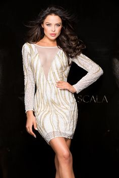 #SCALA Fall 2016 style 48662 Ivory/Silver/Gold. #scalausa #sequins #cocktaildress #fall2k16 #hoco2k16 #homecomingdress #dress #specialoccasion #sparkle #redcarpet #fall2016 #pageant #socialoccasion #shortdress #sequins #sequindress www.scalausa.com