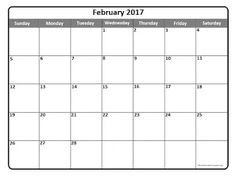 Free Printable Calendar February 2017 April Ideas