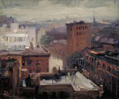 Rain, Rooftops, West 4th Street, John Sloan, 1913