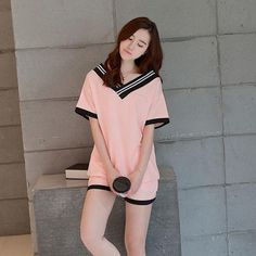 Foply 2018 New Women Pajamas Sets Hot Summer Short Sleeve Cute O-neck Loose Sleepwear Girl pijamas Mujer Nightgowns For Women-lilogal Pajamas For Teens, Cute Pajamas, Satin Pyjama Set, Pajama Set, Pijamas Women, Cute Sleepwear, Cotton Sleepwear, Sleepwear & Loungewear, Womens Pyjama Sets