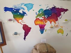 World map painting done using a projector projecting the images up world map painting colours head board idea wall decoration gumiabroncs Gallery