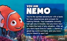 I took Zimbio's 'Finding Nemo' quiz and I'm Nemo! Who are you? Click pic for quiz!
