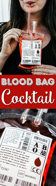 This Blood Bag Cocktail is the perfect quick drink for all your Halloween parties! Made with two ingredients, this drink is an easy and deliciously spooky libation! via @sugarandsoulco