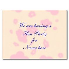 Pink flower Wedding Stationary Hen Night or Party Post Card