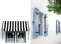 black / white striped awning.