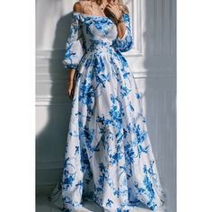 Wholesale Bohemian Off The Shoulder Floral Print Drses For Women Only $6.40 Drop Shipping | TrendsGal.com