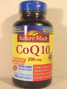 Nature Made CoQ10.  These softgels have 200 mg of Coenzyme Q10.    According to the Mayo Clinic: Levels of CoQ10 lower as we age. Statin medicines deplete the body of CoQ10.  Picture: eBay affiliate link.