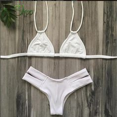 Top and Bottom Included -Brazilian Bottom -Tie Strap Halter Top --Runs true to size-- Made with Love * No Returns on Swimwear *