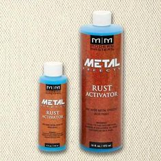 Modern Masters Rust Activator 4 and 6 oz creates beautiful aged metal finishes in a matter of minutes. Metal Effects Patina Aging Solutions are water base acidi