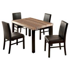 ioHomes 5pc Colorful Faux Marble Top Dining Table Set Wood/Black