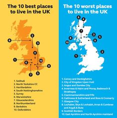 The best and worst places to live in the UK.